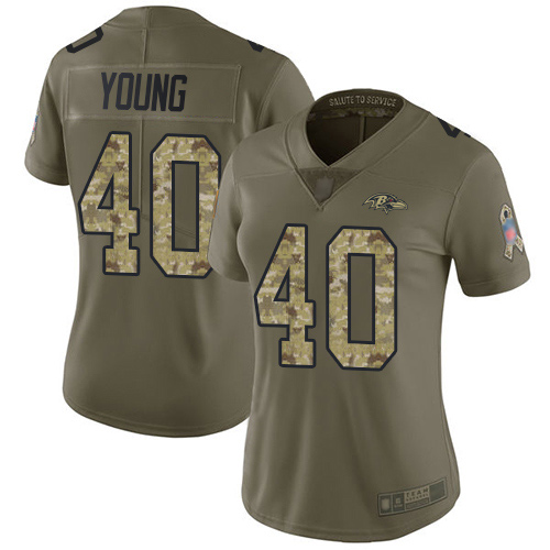 Women's Kenny Young Olive/Camo Limited Football Jersey: Baltimore Ravens #40 2017 Salute to Service  Jersey