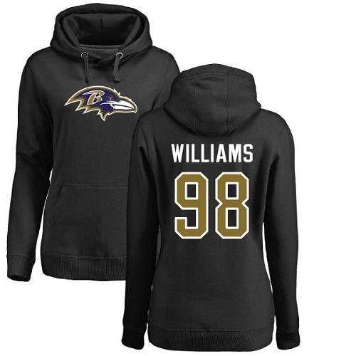 Women's Brandon Williams Black Name & Number Logo Football : Baltimore Ravens #98 Pullover Hoodie