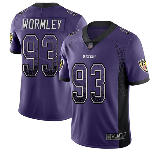 Men's Chris Wormley Purple Limited Football Jersey: Baltimore Ravens #93 Rush Drift Fashion  Jersey