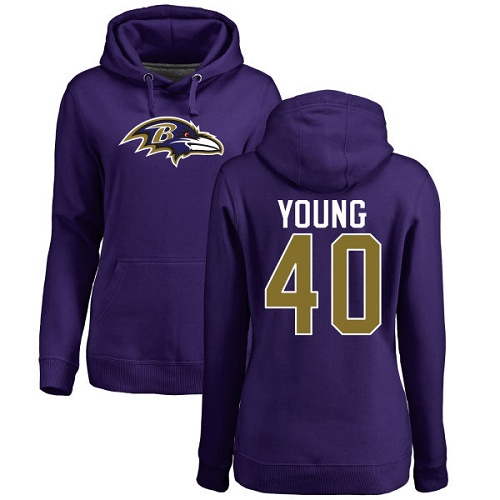 Women's Kenny Young Purple Name & Number Logo Football : Baltimore Ravens #40 Pullover Hoodie