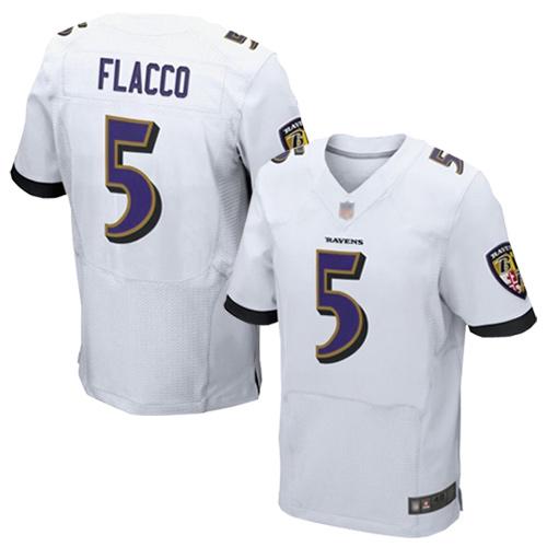 Men's Joe Flacco White Road Elite Football Jersey: Baltimore Ravens #5  Jersey