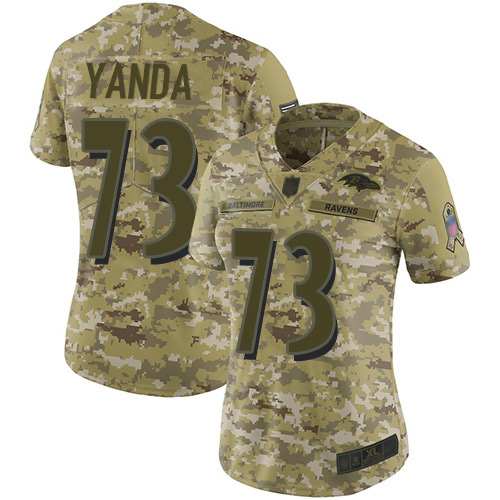 Women's Marshal Yanda Camo Limited Football Jersey: Baltimore Ravens #73 2018 Salute to Service  Jersey