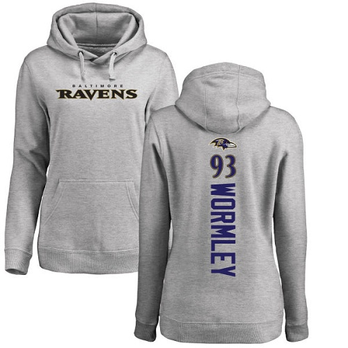 Women's Chris Wormley Ash Backer Football : Baltimore Ravens #93 Pullover Hoodie