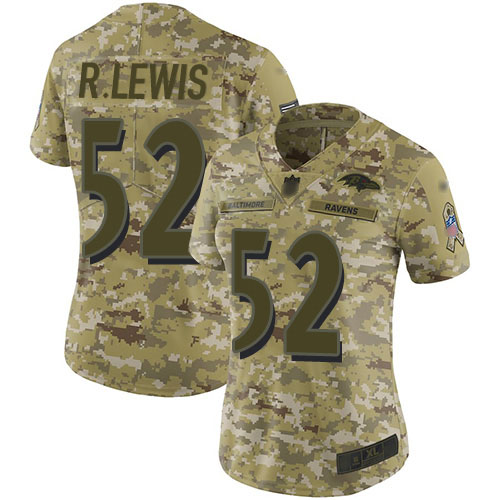 Women's Ray Lewis Camo Limited Football Jersey: Baltimore Ravens #52 2018 Salute to Service  Jersey