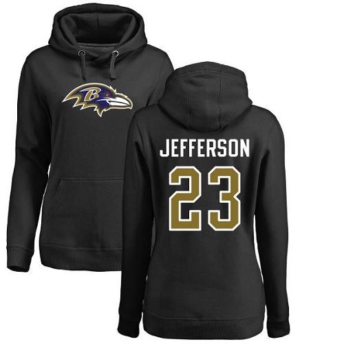 Women's Tony Jefferson Black Name & Number Logo Football : Baltimore Ravens #23 Pullover Hoodie