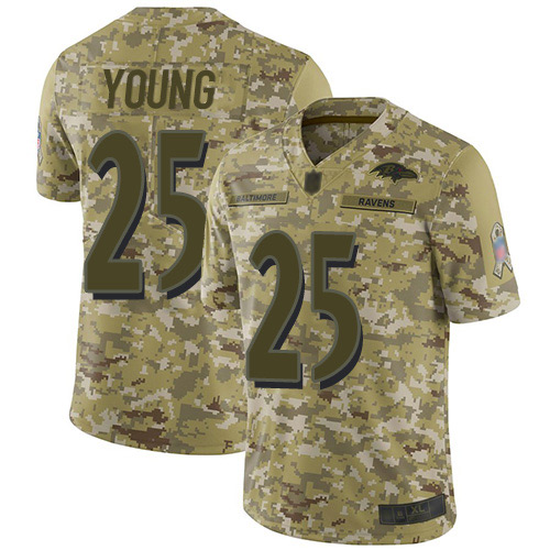 Youth Tavon Young Camo Limited Football Jersey: Baltimore Ravens #25 2018 Salute to Service  Jersey