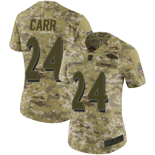 Women's Brandon Carr Camo Limited Football Jersey: Baltimore Ravens #24 2018 Salute to Service  Jersey