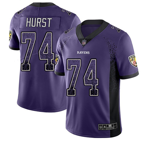 Youth James Hurst Purple Limited Football Jersey: Baltimore Ravens #74 Rush Drift Fashion  Jersey