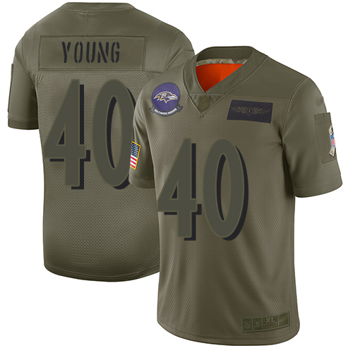 Men's Kenny Young Green Limited Football Jersey: Baltimore Ravens #40 Salute to Service Tank Top  Jersey