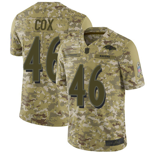 Men's Morgan Cox Camo Limited Football Jersey: Baltimore Ravens #46 2018 Salute to Service  Jersey