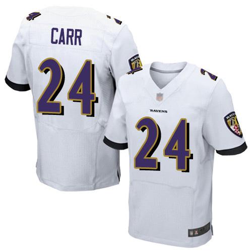 Men's Brandon Carr White Road Elite Football Jersey: Baltimore Ravens #24  Jersey