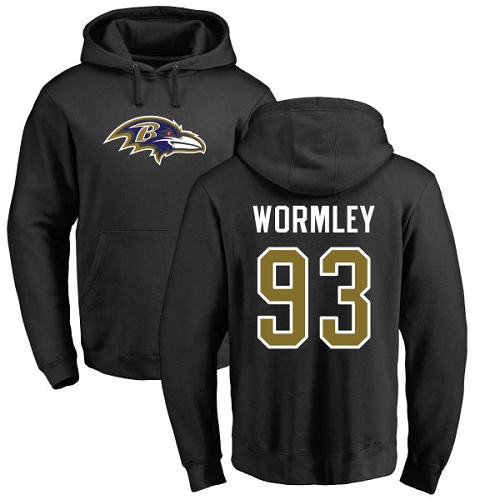 Chris Wormley Black Name & Number Logo Football : Baltimore Ravens #93 Pullover Hoodie