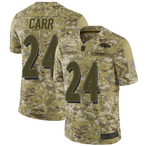 Youth Brandon Carr Camo Limited Football Jersey: Baltimore Ravens #24 2018 Salute to Service  Jersey