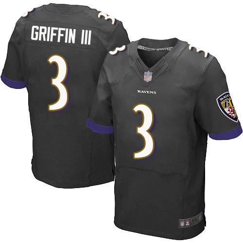 Men's Robert Griffin III Black Alternate Elite Football Jersey: Baltimore Ravens #3  Jersey