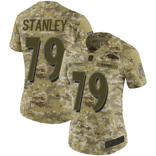 Women's Ronnie Stanley Camo Limited Football Jersey: Baltimore Ravens #79 2018 Salute to Service  Jersey