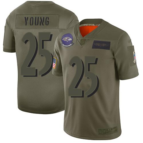Men's Tavon Young Purple Elite Football Jersey: Baltimore Ravens #25 Rush Vapor Untouchable  Jersey