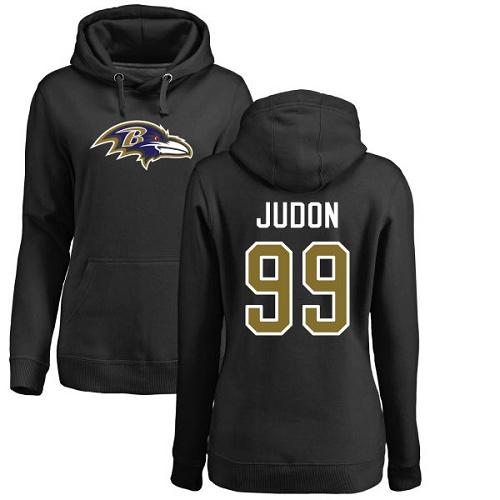 Women's Matt Judon Black Name & Number Logo Football : Baltimore Ravens #99 Pullover Hoodie