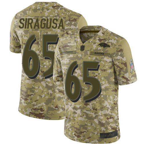 Youth Nico Siragusa Camo Limited Football Jersey: Baltimore Ravens #65 2018 Salute to Service  Jersey