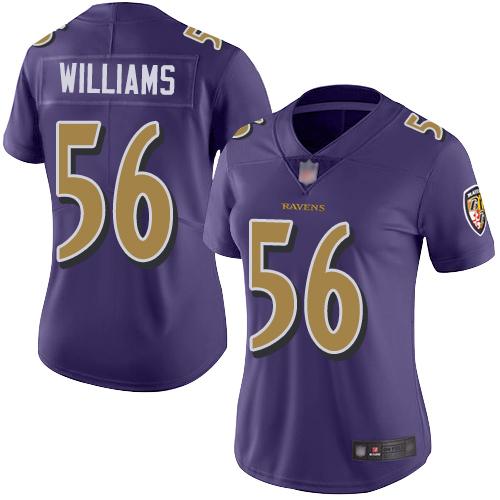 Women's Tim Williams Purple Limited Football Jersey: Baltimore Ravens #56 Rush Vapor Untouchable  Jersey