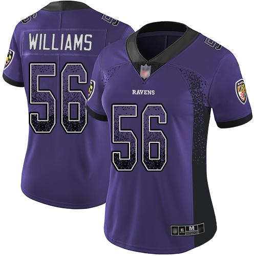 Women's Tim Williams Purple Limited Football Jersey: Baltimore Ravens #56 Rush Drift Fashion  Jersey