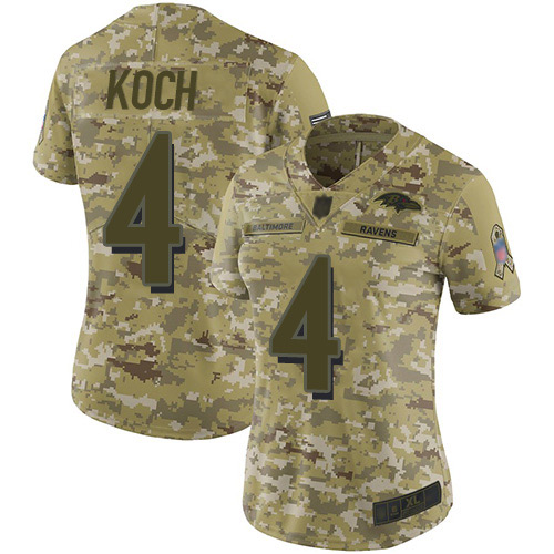 Women's Sam Koch Camo Limited Football Jersey: Baltimore Ravens #4 2018 Salute to Service  Jersey