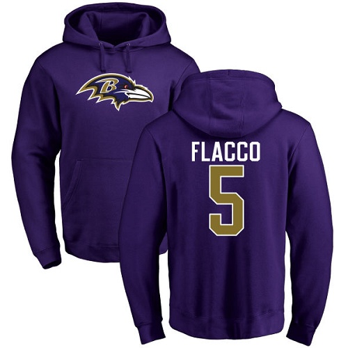 Joe Flacco Purple Name & Number Logo Football : Baltimore Ravens #5 Pullover Hoodie