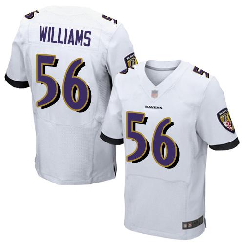 Men's Tim Williams White Road Elite Football Jersey: Baltimore Ravens #56  Jersey