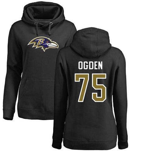 Women's Jonathan Ogden Black Name & Number Logo Football : Baltimore Ravens #75 Pullover Hoodie