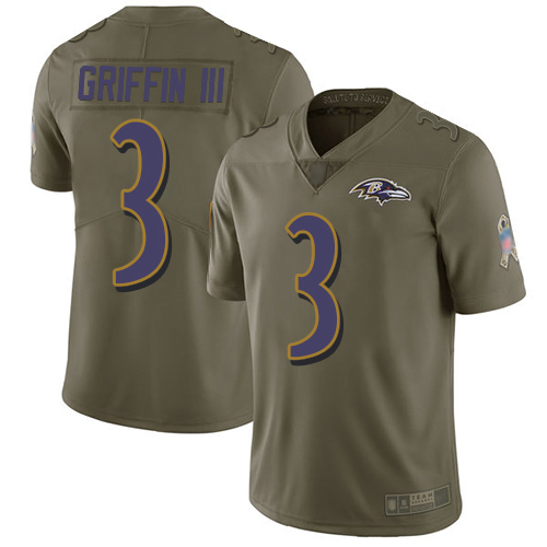 Men's Robert Griffin III Olive Limited Football Jersey: Baltimore Ravens #3 2017 Salute to Service  Jersey