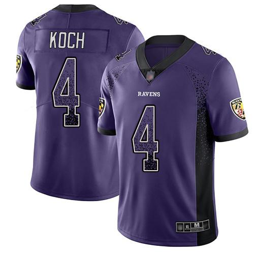 Youth Sam Koch Purple Limited Football Jersey: Baltimore Ravens #4 Rush Drift Fashion  Jersey