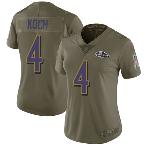 Women's Sam Koch Olive Limited Football Jersey: Baltimore Ravens #4 2017 Salute to Service  Jersey