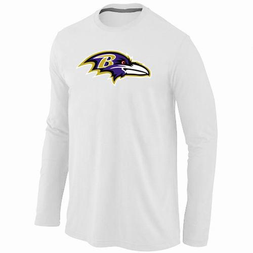 Baltimore Ravens Team Logo Long Sleeve Football T-Shirt - White