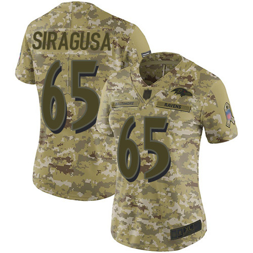 Women's Nico Siragusa Camo Limited Football Jersey: Baltimore Ravens #65 2018 Salute to Service  Jersey