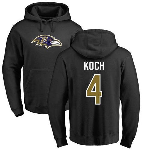 Sam Koch Black Name & Number Logo Football : Baltimore Ravens #4 Pullover Hoodie