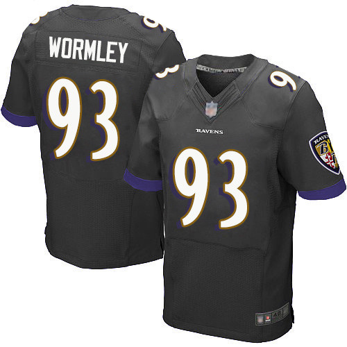 Men's Chris Wormley Black Alternate Elite Football Jersey: Baltimore Ravens #93  Jersey