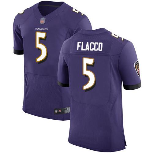 Men's Joe Flacco Purple Home Elite Football Jersey: Baltimore Ravens #5  Jersey