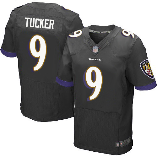 Men's Justin Tucker Black Alternate Elite Football Jersey: Baltimore Ravens #9  Jersey