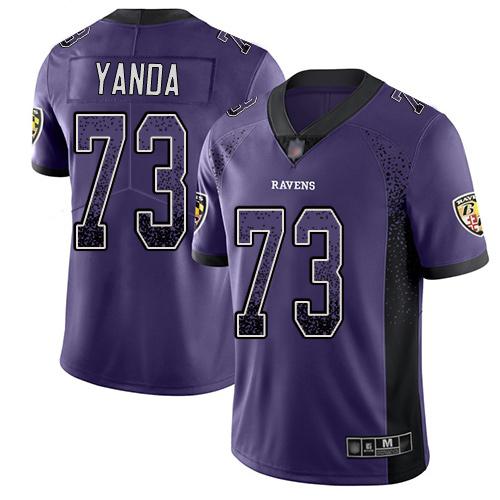Men's Marshal Yanda Purple Limited Football Jersey: Baltimore Ravens #73 Rush Drift Fashion  Jersey