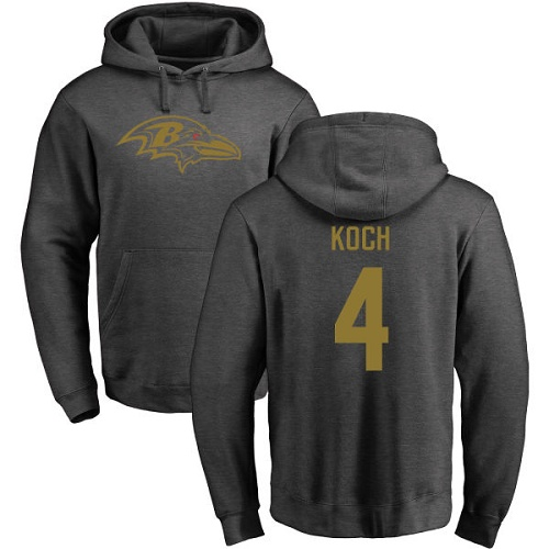 Sam Koch Ash One Color Football : Baltimore Ravens #4 Pullover Hoodie