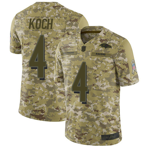 Youth Sam Koch Camo Limited Football Jersey: Baltimore Ravens #4 2018 Salute to Service  Jersey