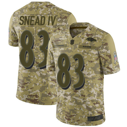 Youth Willie Snead IV Camo Limited Football Jersey: Baltimore Ravens #83 2018 Salute to Service  Jersey