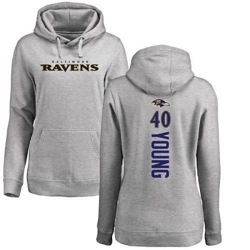 Women's Kenny Young Ash Backer Football : Baltimore Ravens #40 Pullover Hoodie