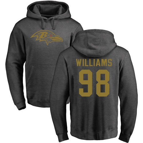 Brandon Williams Ash One Color Football : Baltimore Ravens #98 Pullover Hoodie