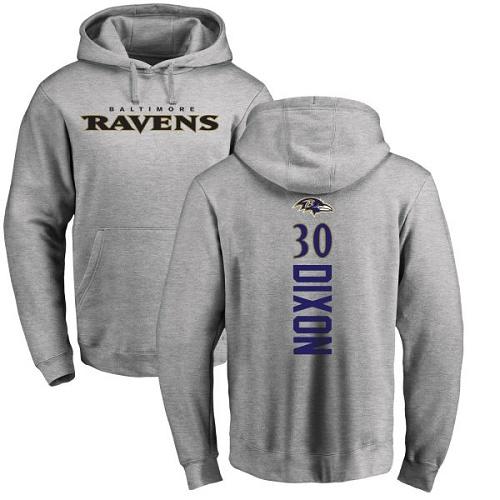Kenneth Dixon Ash Backer Football : Baltimore Ravens #30 Pullover Hoodie
