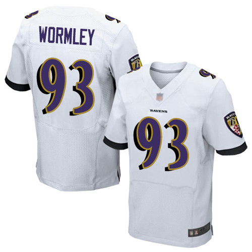 Men's Chris Wormley White Road Elite Football Jersey: Baltimore Ravens #93  Jersey