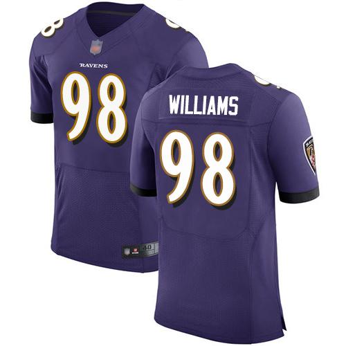 Men's Brandon Williams Purple Home Elite Football Jersey: Baltimore Ravens #98  Jersey