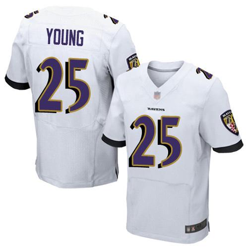 Men's Tavon Young White Road Elite Football Jersey: Baltimore Ravens #25  Jersey