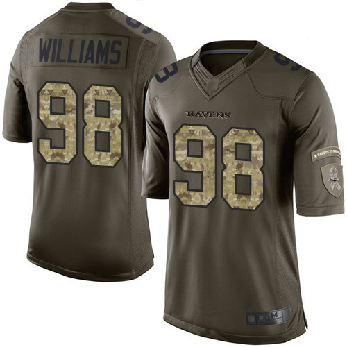 Men's Brandon Williams Green Elite Football Jersey: Baltimore Ravens #98 Salute to Service  Jersey