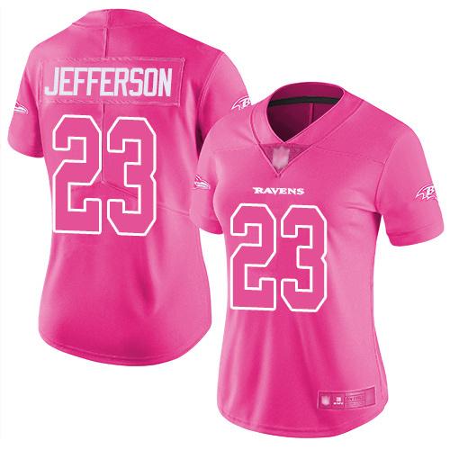 Women's Tony Jefferson Pink Limited Football Jersey: Baltimore Ravens #23 Rush Fashion  Jersey