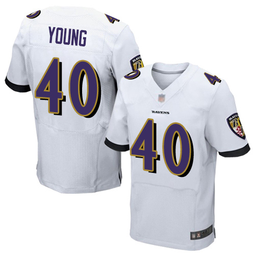 Men's Kenny Young White Road Elite Football Jersey: Baltimore Ravens #40  Jersey